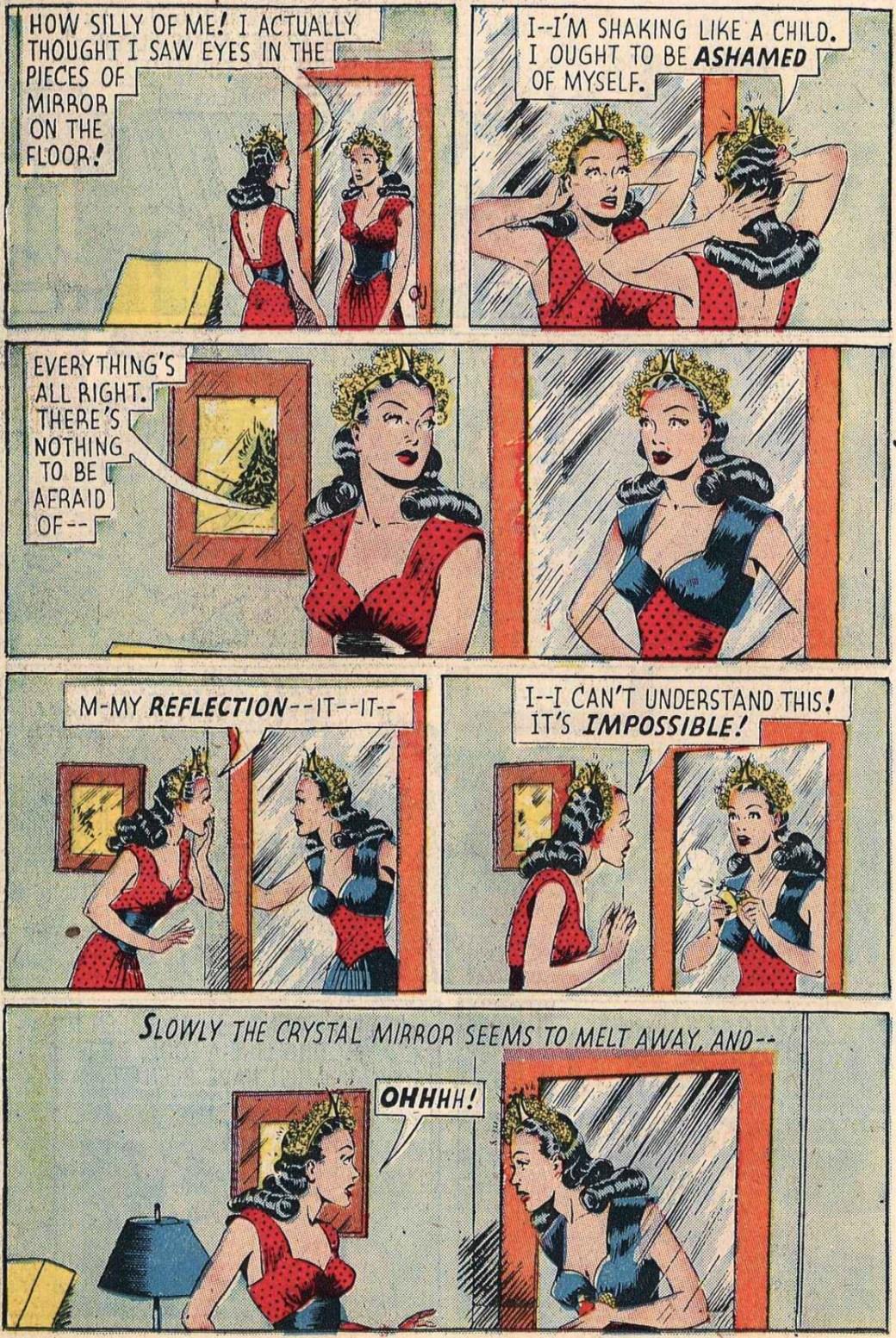 En sida ur en färgversion av The Mirror People