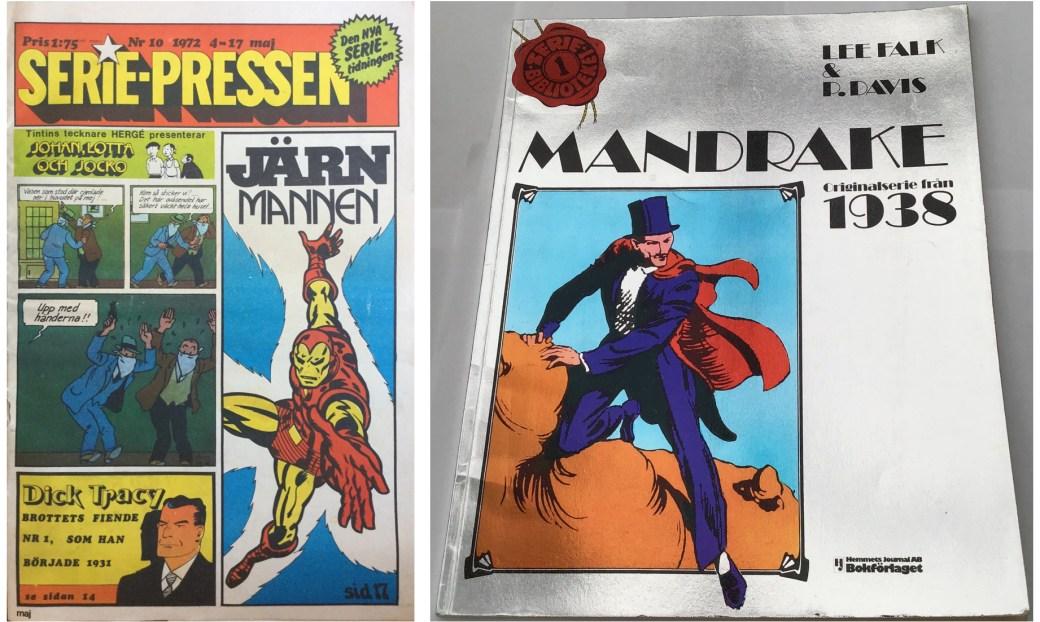 Ett par av förekomster av Mandrake, Serie-Pressen nr 10, 1972, och Seriebiblioteket nr 1 från 1986