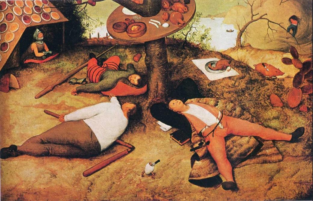 Luilekkerland av Pieter Bruegel den äldre, olja (1567; Alte Pinakothek, Munich)