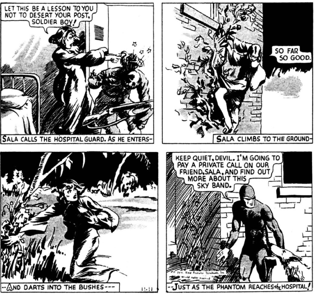 Dagsstrippen den 11 november 1936, ur episoden The Sky Band, av Lee Falk och Ray Moore
