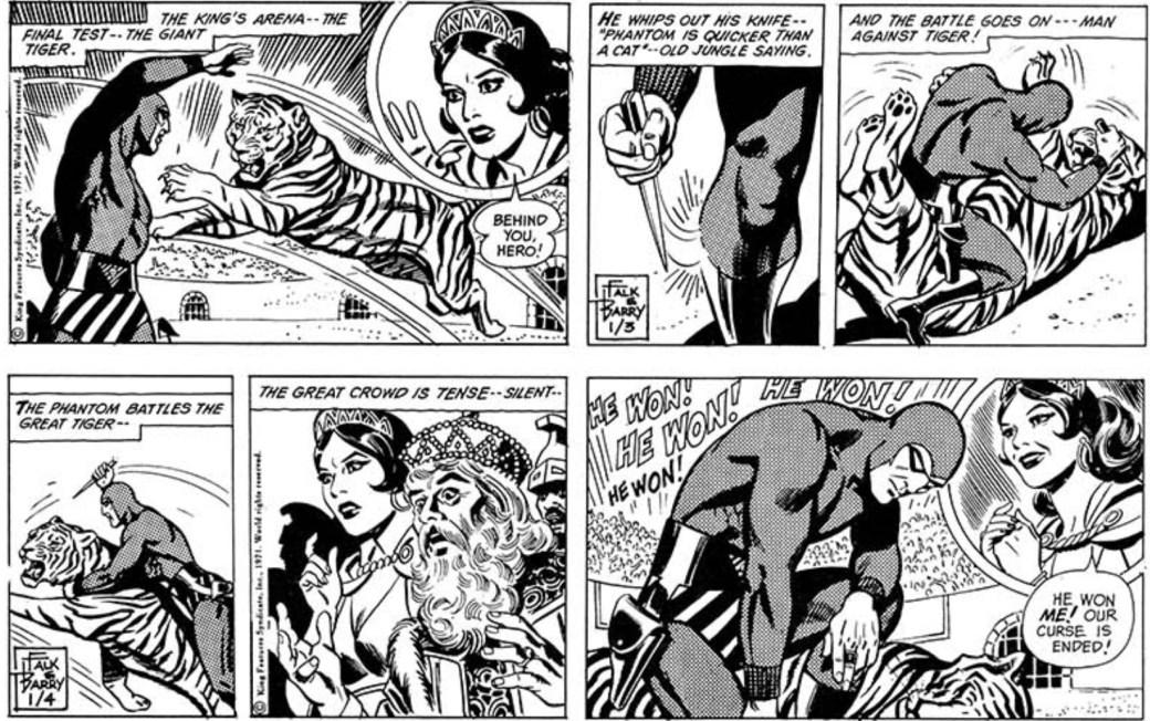 Ett par Fantomen-dagsstrippar av Sy Barry från 3-4 januari 1971
