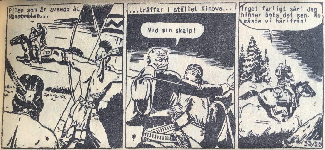 En sida ur Prärieserier nr 33, 1954, där Kinowa träffas av en förgiftad pil