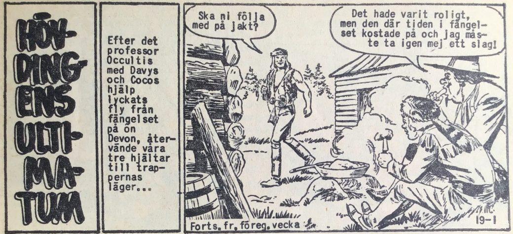 Den inledande sidan ur Prärieserier nr 19, 1960