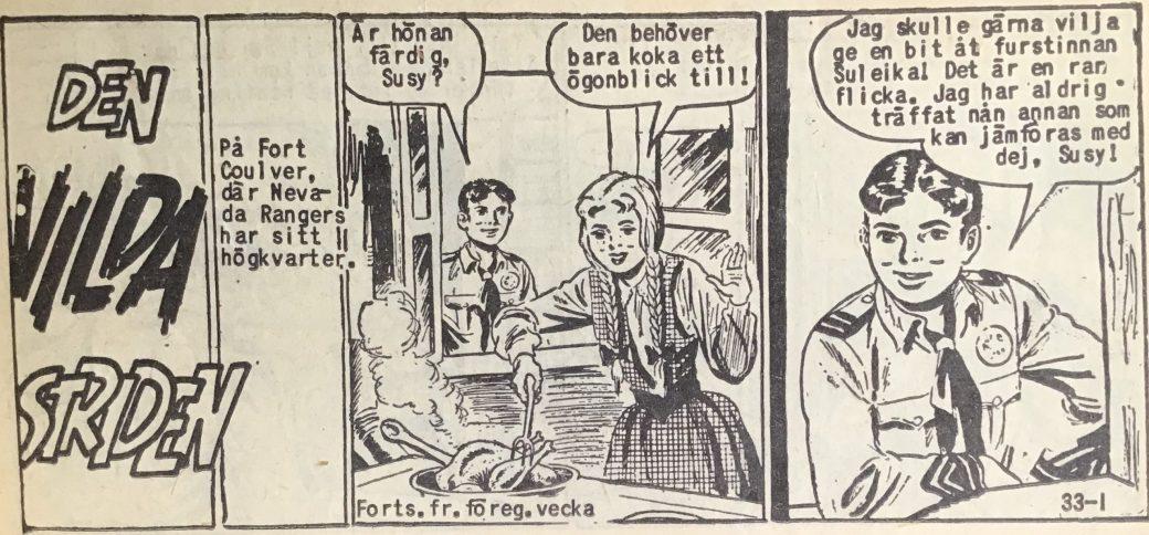 Den inledande sidan ur Vilda Västern nr 33, 1958
