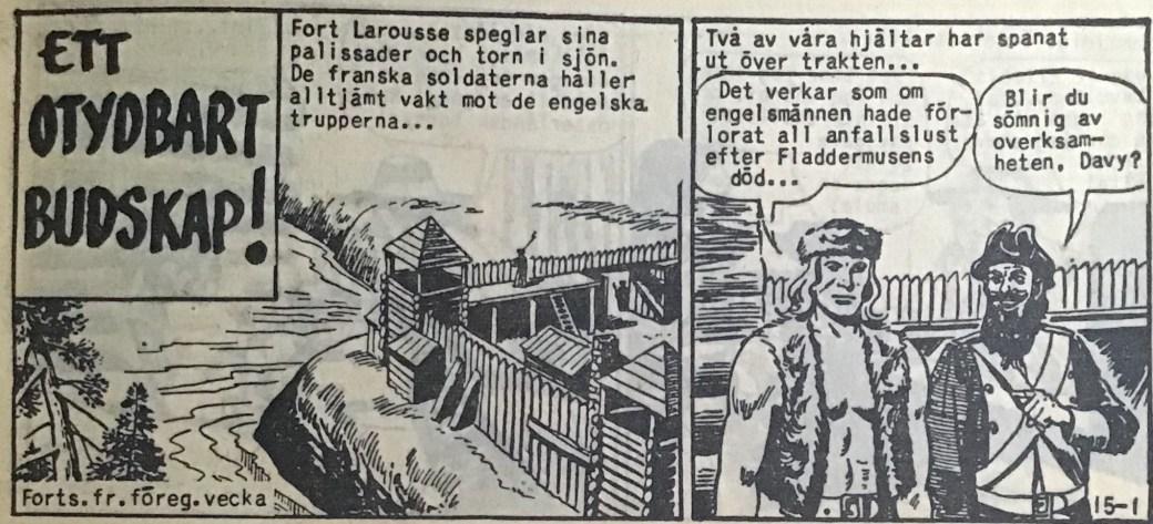 Den inledande sidan ur Prärieserier nr 15, 1959