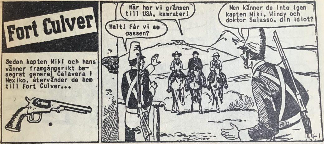 Den inledande sidan ur Vilda Västern nr 44, 1957, där förlaget ännu inte fastnat för den stavning som sedermera gällde för Fort Coulver