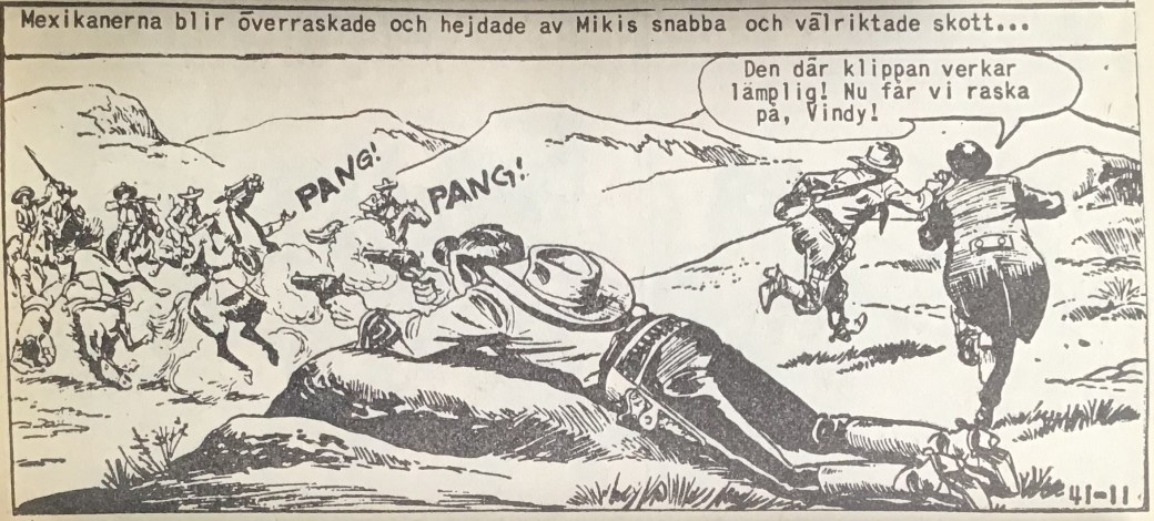 En actionfylld sida ur Vilda Västern nr 41, 1958, där Miki som vanligt är träffsäker