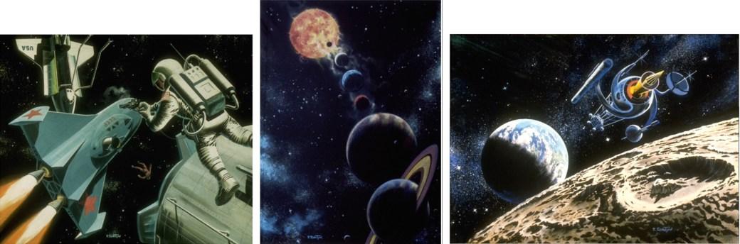 Tavlan till höger användes som omslag till Äventyr i världsrymden