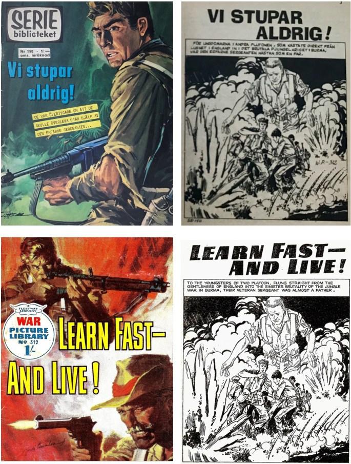 Seriebiblioteket nr 150 (1966) har tagit innehållet från War Picture Library #312 från 1 november 1965. Koden som avslöjar krigsserien är WP-312.