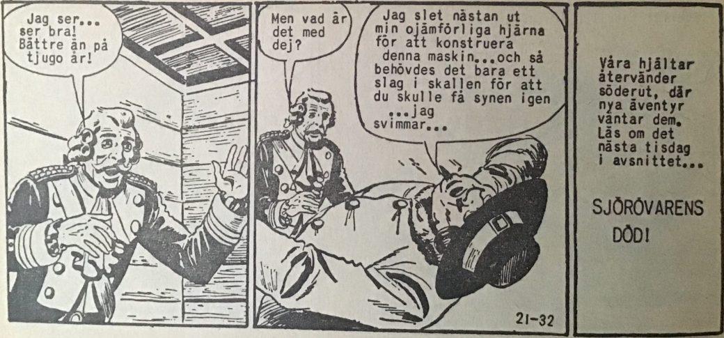 Den avslutande sidan ur Prärieserier nr 21, 1959