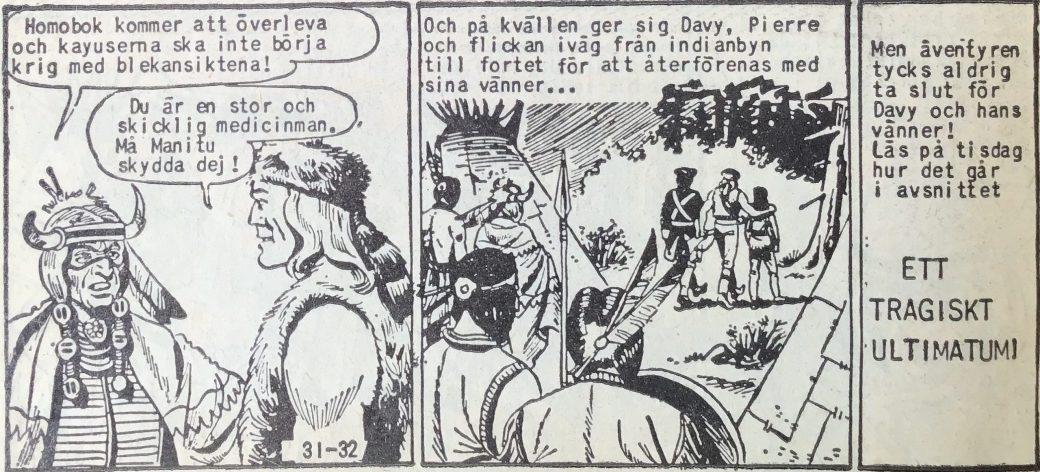 Den avslutande sidan ur Prärieserier nr 31, 1958