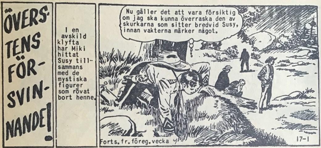 En sida ur Vilda Västern nr 17, 1959, där Miki försöker rädda kidnappade Suzy