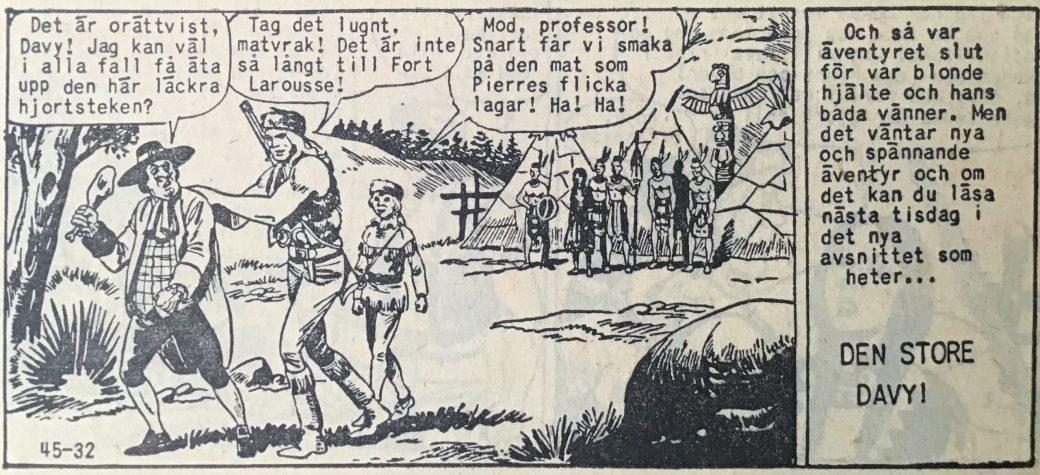 Den avslutande sidan ur Prärieserier nr 45, 1958