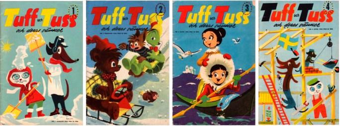 Tuff och Tuss nr 1-4, 1956 från ©Åhlén & Åkerlunds förlag
