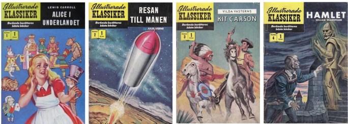 Illustrerade klassiker nr 1-4 (1956) utgivna av ©Illustrerade klassiker förlag