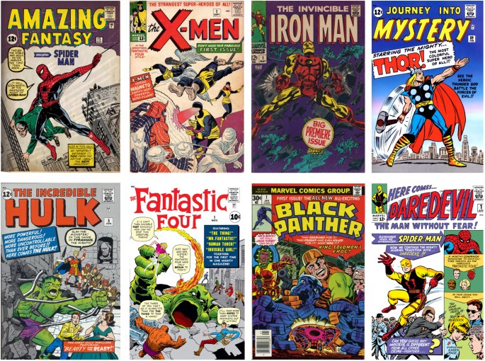 Stan Lee, Jack Kirby och Steve Ditko skapade en mängd superhjältar, bland dem Spider-Man, the X-Men, Iron Man, Thor, the Hulk, the Fantastic Four, Black Panther, Daredevil, med flera