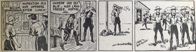 En stripp från 50-talet signerad Lyman and Bob Young, från Spud & Co nr 1, 1964, ur episoden Den gyllene noshörningen