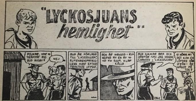 Inledningen till Lyckosjuans hemlighet i Spud& Co nr 1, 1964