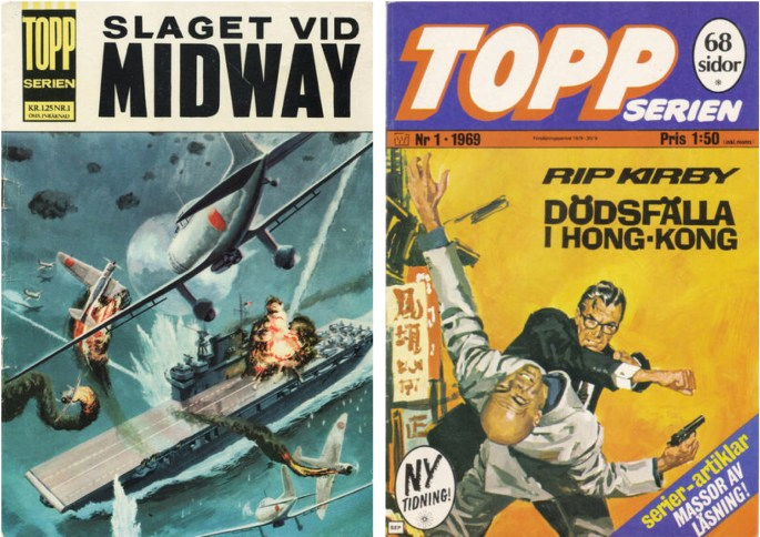 Toppserien nr 1 (1964) och tredje editionens nr 1 (1969) från ©Williams Förlag