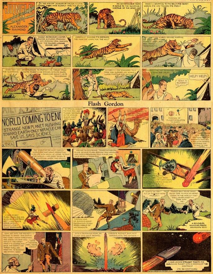 Den första söndagssidan med Flash Gordon och Jungle Jim av Alex Raymond från 7 januari, 1934