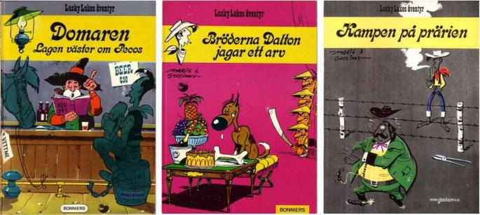 Lucky Luke~album från 1974 utgivna av Bonniers förlag och Juniorförlaget