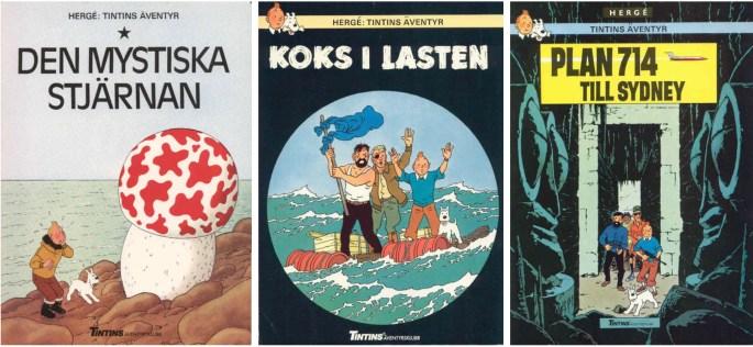Tintin-album från Tintins Äventyrsklubb 1984 utgivna av ©Nordisk bok