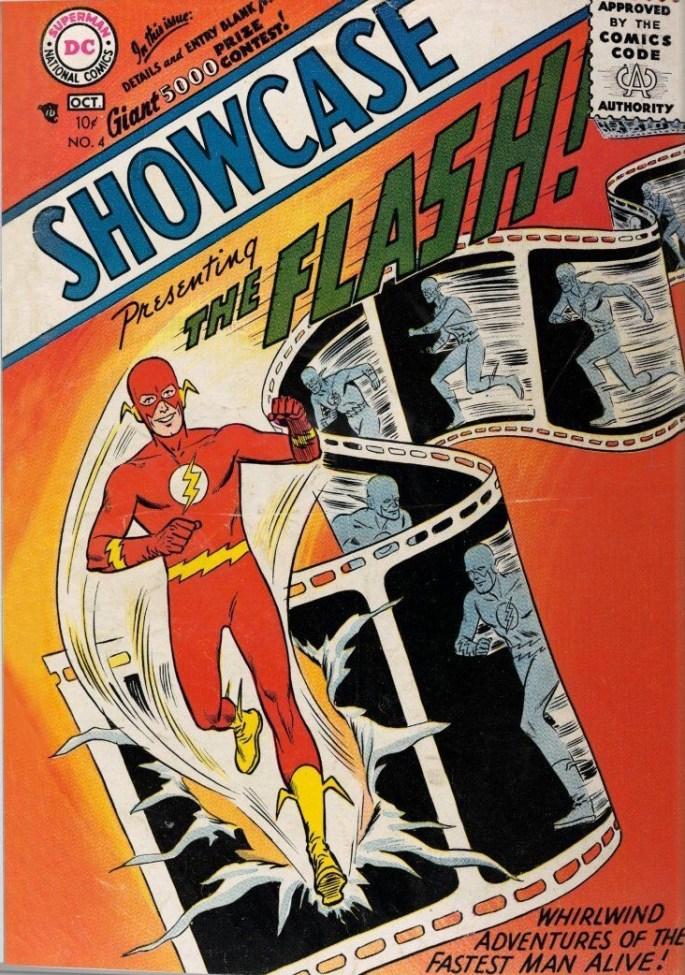 Serietidningen Showcase #4 från oktober-november 1956, med omslagsillustration av Carmine Infantino och Joe Kubert, innehöll Flash