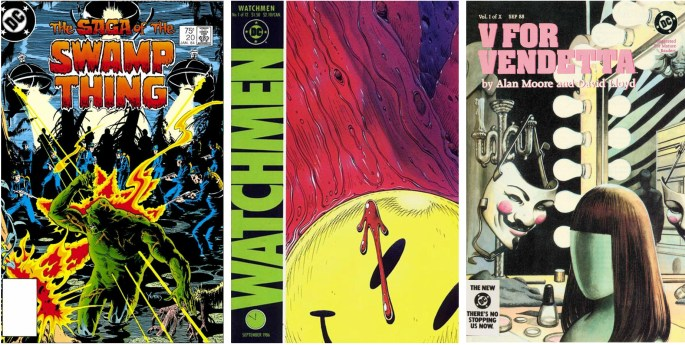 Alan Moore skrev manus till The Saga of Swamp Thing #20, från januari 1984, Watchmen #1 från september 1986 och V for Vendetta #1 från september, 1988