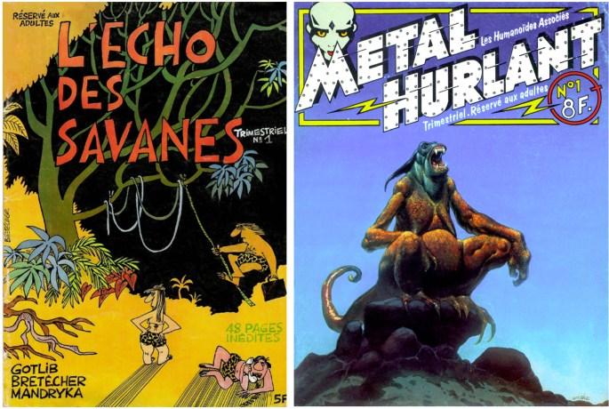 Serietidningarna L'Écho des savanes och Métal hurlant tillkom på 70-talet