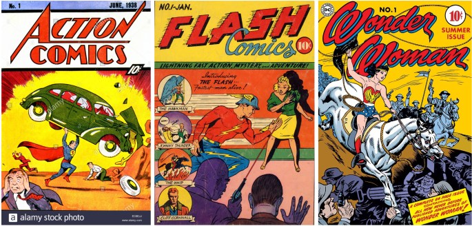 Action Comics med Superman, Flash Comics med The Flash och första numret av Wonder Woman från ©DC Comics