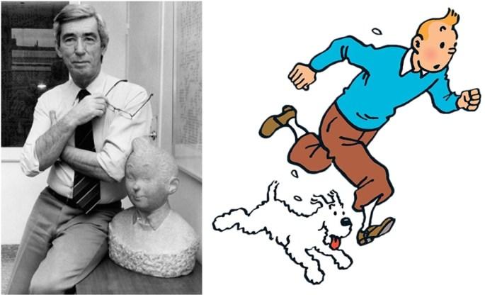 Hergé och Tintin, med Milou