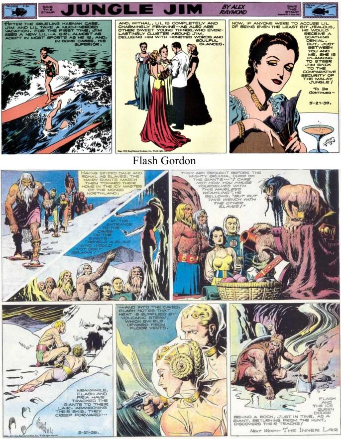 """Samma söndagssida med Flash Gordon som full helsida tillsammans med Jungle Jim som """"topper"""". Raymond tecknade även Secret Agent X9, men hur hann han med det?"""