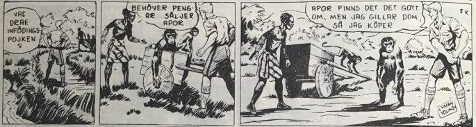 Den inledande strippen i Spud & Co nr 3, 1963, till episoden De försvunna diamanterna