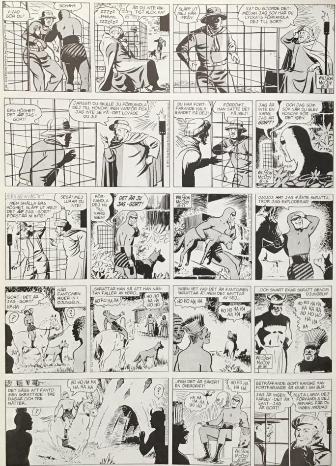 Den avslutande sidan ur Varulvens skepnad i Fantomen 1936-1996