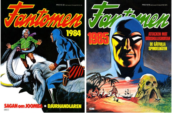 Omslag till Fantomen julalbum 1983 och 1984 från ©Semic