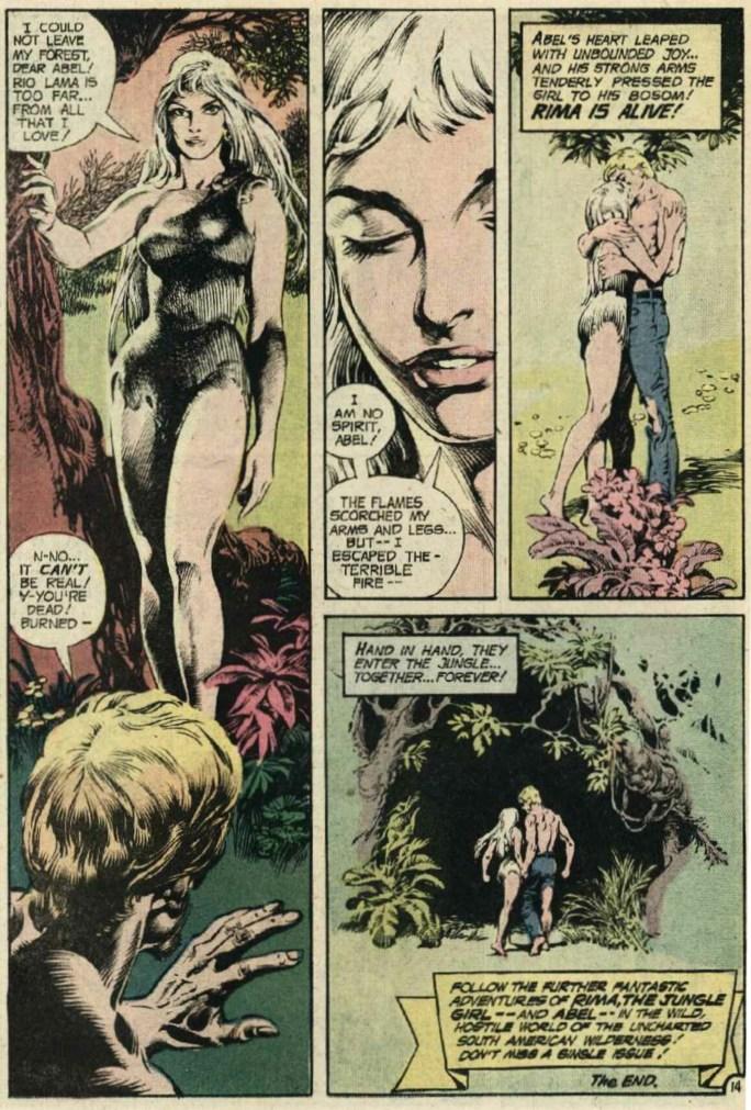 Den avslutande sidan i Rima, the Jungle Girl #4 innan de kommande numren övergår till fristående episoder. ©DC