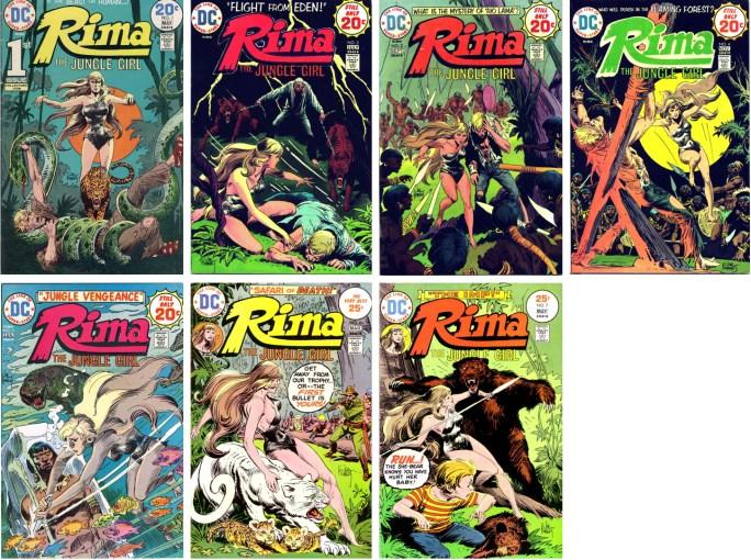 Tarzan var inte den enda djungelserien och Tarzan-tecknaren Joe Kubert tecknade också omslagen till Rima.