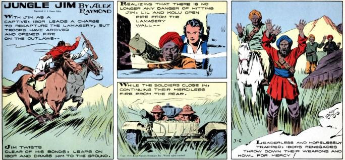 Jungle Jim episod-guide: Söndagsstripp från 6 mars 1938, med färre och större bilder, och integrerad text istället för pratbubblor och textplattor. ©KFS