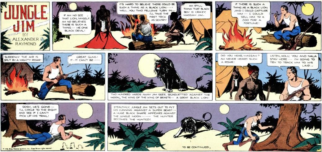 Jungle Jim episod-guide: Den inledande söndagssidan från 18 mars 1934 till episoden om det svarta lejonet, andra äventyret i Jungle Jim episod-guide