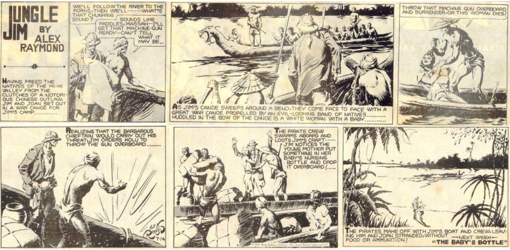 Jungle Jim episod-guide: Den inledande söndagssidan från 14 juli 1935 ur episoden bortrövandet av kvinnan med barn.