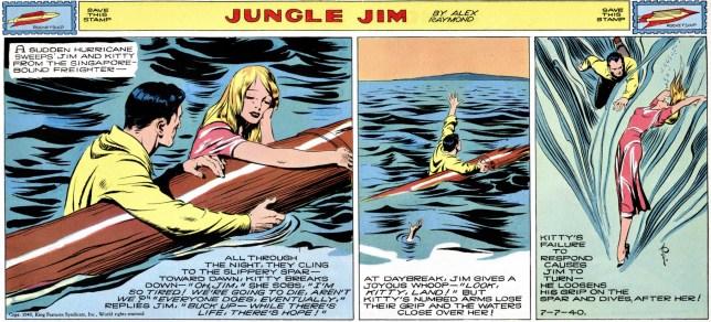 Jungle Jim episod-guide: På väg till Singapore sköljs Jim och Kitty överbord i en storm (strippen från 7 juli 1940)