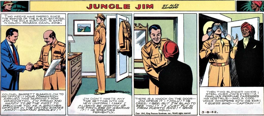 Den 8 mars 1942 blir Jungle Jim arméofficerare.