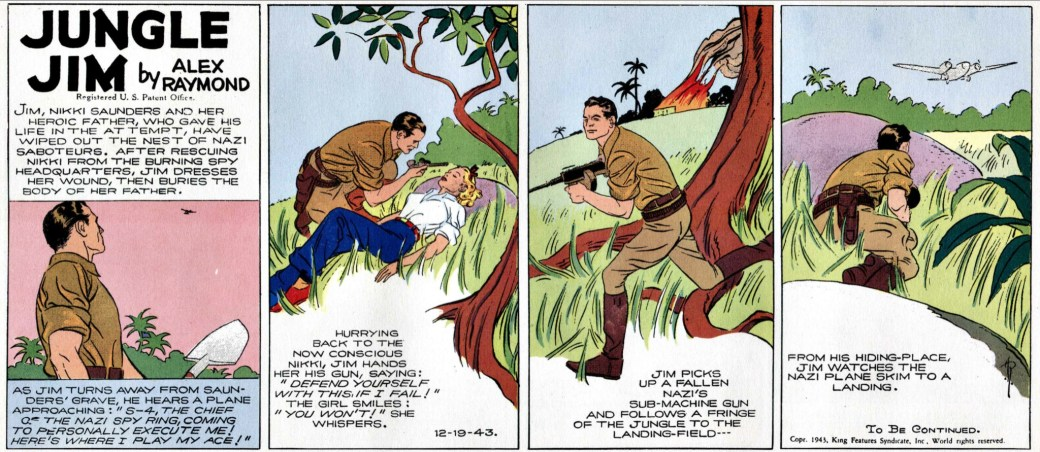 Jungle Jim är sig inte helt i lik i slutet av 1943 (strippen från 19 december)