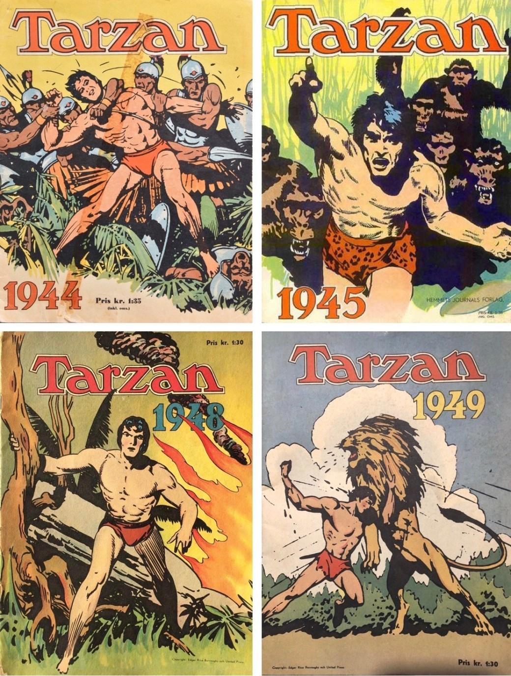 En handfull av de tidigaste utgåvorna med Tarzan på svenska.