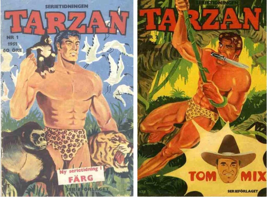 De första två numren av serietidningen Tarzan 1951.