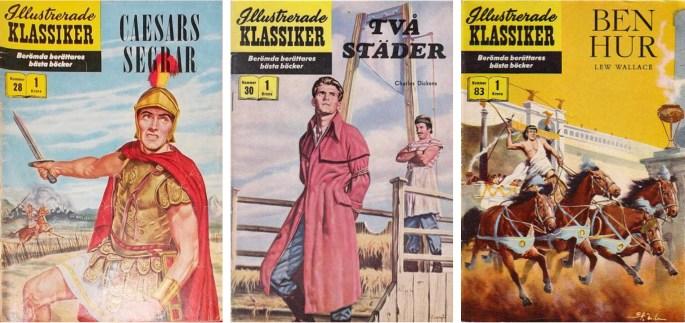 Omslag till tre nummer av Illustrerade klassiker med serier av Joe Orlando. ©IK/Gilberton