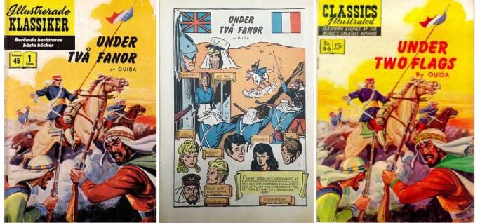 Illustrerade klassiker nr 45, Under två fanor, innehåller den svenska översättningen av Under two flags (t.h.). Omslag av Alex Blum. ©IK/Gilberton