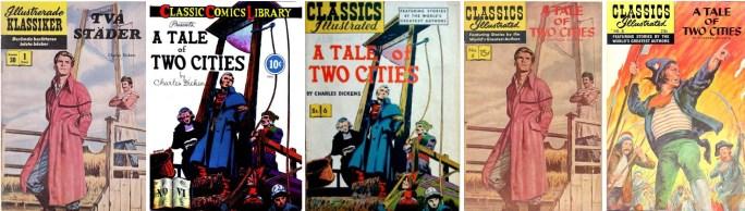 Illustrerade klassiker nr 30, och olika amerikanska förlagor från 1942, 1948, 1956 och 1968. ©IK/Gilberton