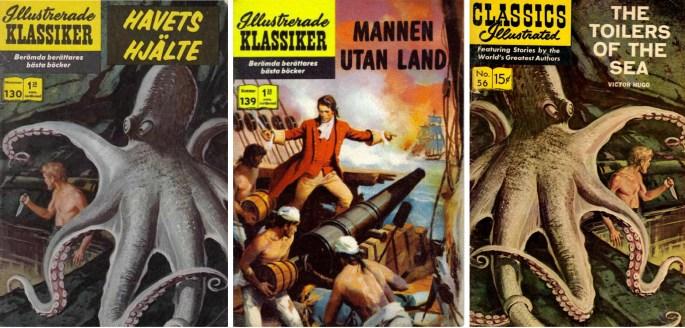 Illustrerade Klassiker nr 130 och 139 har nytecknade serier av Angelo Torres. Intressant är att omslaget till nr 130 är spegelvänt jämfört med originalet (t.h.). ©IK/Gilberton