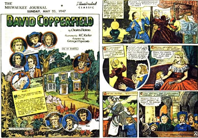 Illustrerade klassiker som söndagsbilaga: Inledande två sidor ur David Copperfield, från 25 maj, 1947. ©Gilberton